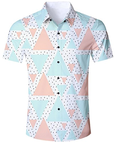 Men White Button Down Short Sleeve Shirt Geometry Triangle Mens Printed Floral Aloha 3D Print Summer Clothing Shirts Tee