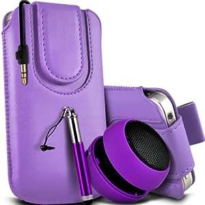 Sony Xperia Z1 compacto premium protección PU botón magnético ficha de extracción Slip In Pouch Pocket Cordón piel cubierta de la caja Quick Release, Retractable Stylus Pen & Mini recargable portátil de 3,5 mm Cápsula Viajes Bass Speaker Jack Purple por Spyrox