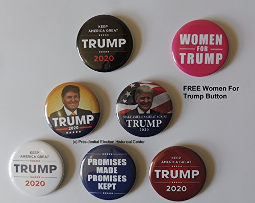 Presidential Election Trump 2020 Campaign Buttons - 6 Pack + Free Women for Trump Button as a -