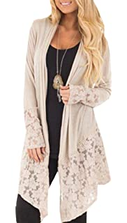 Oasisocean Womens Elegant Splicing Lacy Lace Patchwork Summer Long Sleeve Open Front Knitted Cardigan Midi Coat Sweater