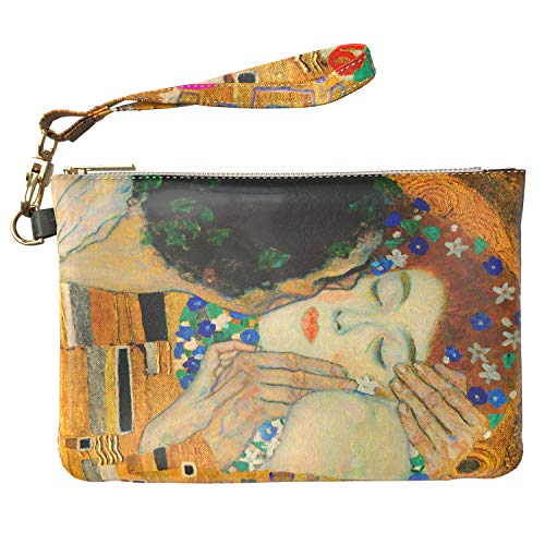 Lex Altern Makeup Bag 9.5 x 6 inch Gustav Klimt The Kiss Art Painting Love Her Him Bathroom Storage Wristband Girly Design Print Purse Pouch Cosmetic Travel PU Leather Case Toiletry Women Organizer