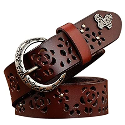 TUNGHO Leather Belts for Women Vintage Hollow Flower Genuine Cowhide Ladies Cowgirl Western Design with Crescent Buckle