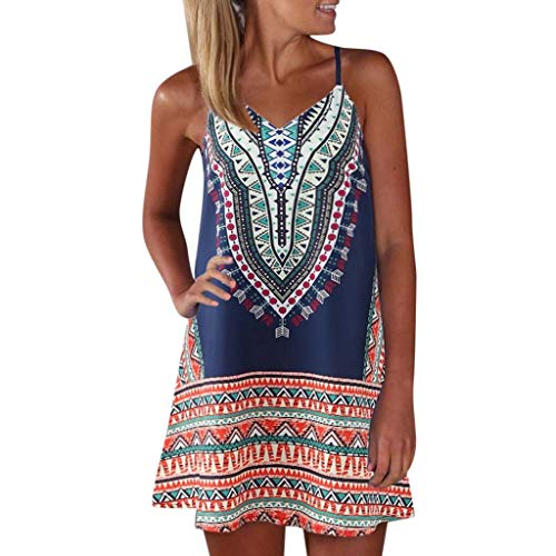 Aniywn Women's Spaghetti Straps Dress Bohemian Printed Min Dress Ladies Sleeveless A-Line Maxi Mini Sundress Blue