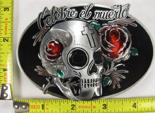 Belt Skull Accessories Buckles (Celebre El Muerto Metal Belt Buckle Celebrate The Dead Skull Red Rose Cross)