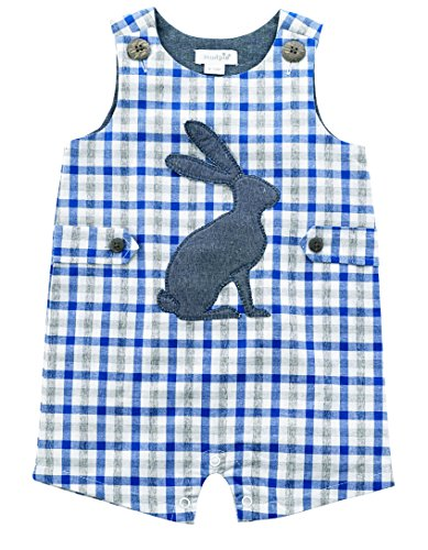 Shortall Gingham Boys (Mud Pie Baby Boys Easter Gingham Sleeveless One Piece Shortall, Blue, 9-12 Months)