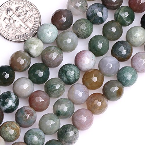 GEM-inside Indian Agate Gemstone Loose Beads 8mm Round Faceted Energy Stone Power Beads For Jewelry Making 15