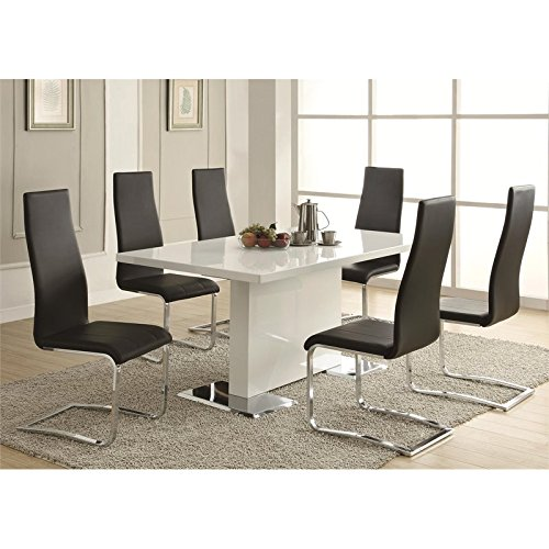 Glossy White Contemporary Dining Table by Coaster Home Furnishings (Image #2)