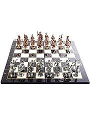 GiftHome Historiska antika koppar Rom figurer metall schackset för vuxna, handgjorda delar och marmordesign trä schackbräda kung 4,3 inkl