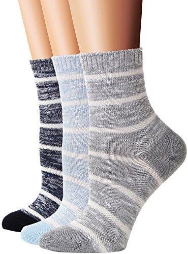 Flora&Fred Women's 3 Pair Pack Vintage Style Stripe Cotton Crew Socks Shoe Size 5-9