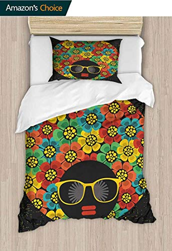 PRUNUS-Home 70s Party European Style Print Bed Set,Abstract Woman Portrait Hair Style with Colorful Flowers Sunglasses Lips Graphic Bedding Sets,1 Duvet Cover,1 Pillowcase 59