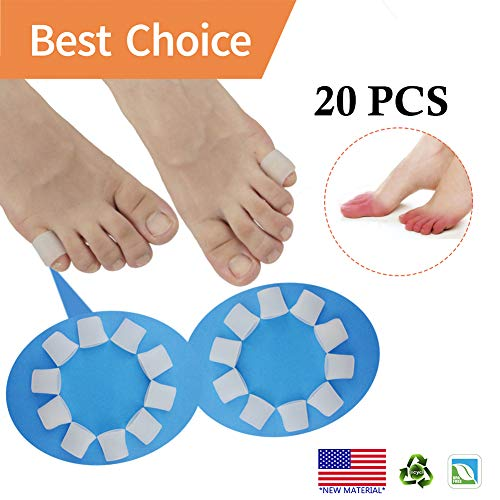 Gel Toe Protectors, Open Toe Sleeves Toe Tubes Toe caps (20 PCS) *New Material* Great for Bunion Blisters, Corns, Hammer Toes, Toenails Loss, Friction Pain Relief and More. (for Pinky Toes)