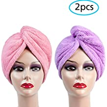 Noivty Hair Drying Towel, Diy Wet Hair Wrap Towel Hat for Men and Women's Travel, Bath Spa Shower Head Cap Turban Twist Hair Dryer Care Cotton Towel Super Absorbent, 2 Pack ( Pink and Purple )