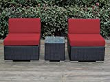 Cheap Ohana 3-Piece Outdoor Patio Furniture Conversation Set, Black Wicker with Red Cushions – No Assembly