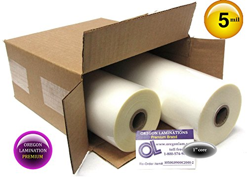 Oregon Lamination Standard Hot Laminating Film 9-inch x 200-feet x 1-inch core (2 Rolls) 5.0 Mil Gloss by Oregon Lamination (Image #1)