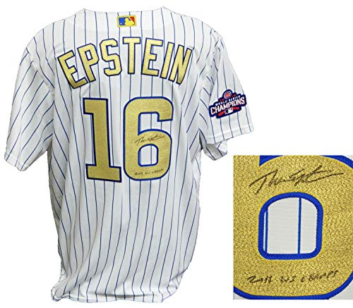Theo Epstein Autographed Signed Chicago Cubs #16 White Pinstripe Gold World Series Champs Majestic Jersey with 2016 WS Champs - Certified Authentic