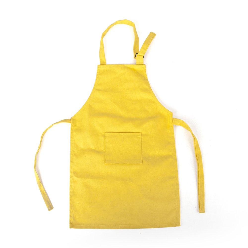 Opromo 多色 シンプル コットン キャンバス 子供用 エプロン 前 ポケット付き(50枚入り) イエロー XXL B01822KZTI XXL|イエロー イエロー XXL