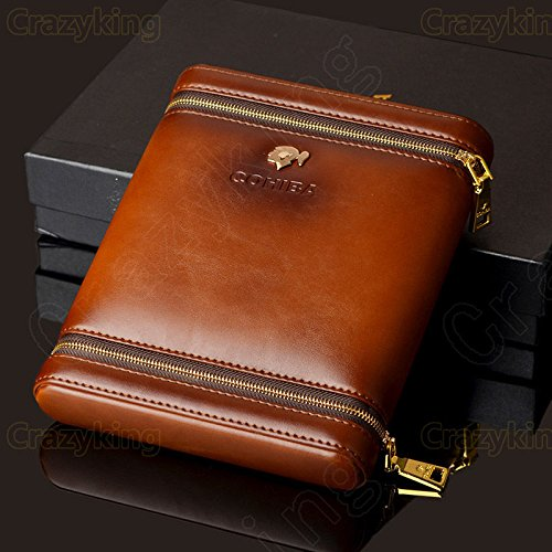 Brown Leather Cedar Wood 6 Ct Cigar Humidor Case Holder with Humidifier