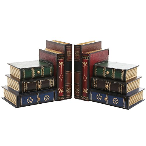 MyGift Stacked Books Wood Bookends, Desktop Organizer Drawer Units, Set of 2, Brown
