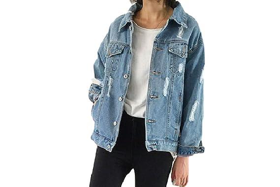 70f7419862 Moon Market Women's Casual Classic Oversized Denim Jacket Loose Ripped Jean  Lightweight Jacket Coat Outer Cardigan