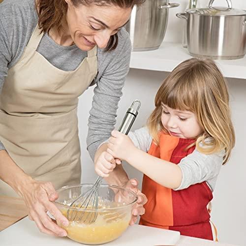 KUFUNG Kitchen Stainless Steel Whisk, Balloon Mini Wire Whisk, Egg Mixer, for Blending Whisking Beating Stirring Cooking Baking (Stainless Steel, 28 cm)