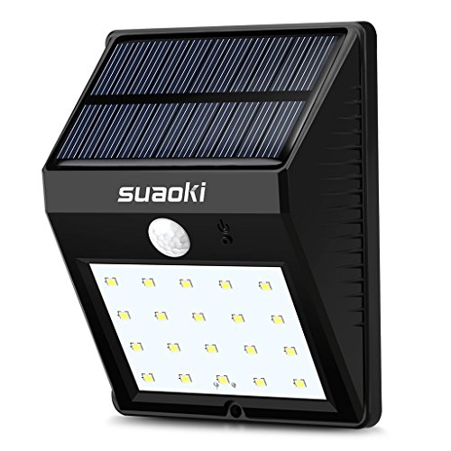 Suaoki 20 LED Solar Lights Super Bright Outdoor Motion Sensor Lighting with Dim/Bright Lighting Mode Auto On/Off Weatherproof for Garden Backyard Patio Fencing Pathway Deck (Black)