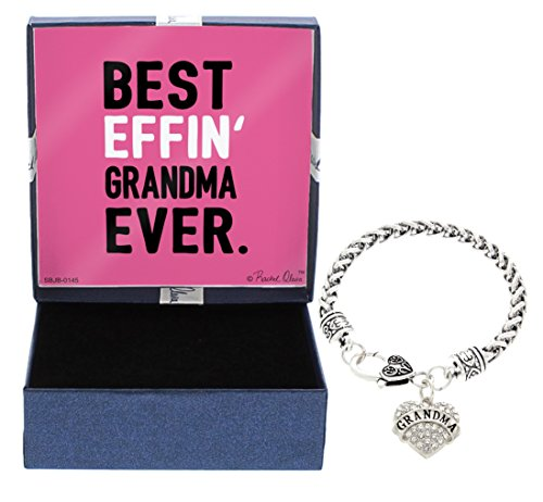 (Grandma Best Effin Grandma Silver-Tone Crystal Adorned Heart Shaped Charm Lobster Claw Bracelet Gift Box Birthday Gifts Grandma Bracelet Grandma Jewelry)