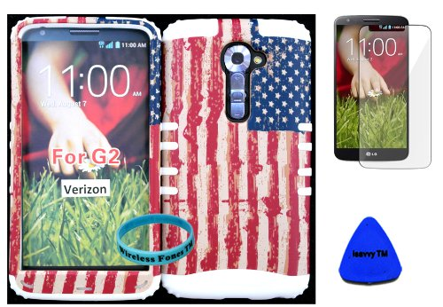 - Wireless Fones TM High Impact Hybrid Rocker Case for LG G2 VS980(Verizon only) Hard USA US Flag Design on White Silicone with Screen Protector, iSavvy Pry Tool & Wrist Band