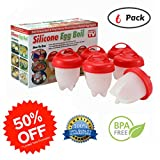 Egglette As Seen on TV | Egg cooker for easy soft and hard boiled eggs without the Shell | Non-stick with Improved Silicone Egg Cups -BPA Free | Pack of 6 Egglettes by BAKElyf cookware