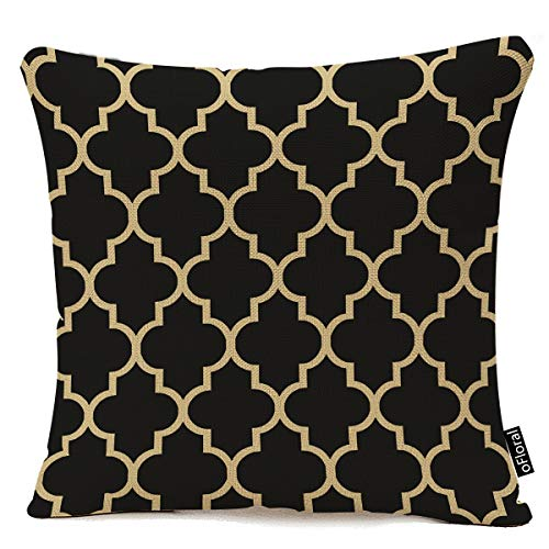 "oFloral Home Decorative Black and Gold Tan Quatrefoil Pattern Pillows Throw Pillow Cover Cushion Case 18""x18"""