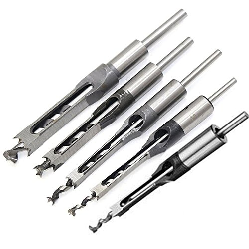 Breynet Woodworker Square Hole Mortise Chisel Drill Bit Set for Wood, Woodworking Hole Saw Mortising Chisel Drill Bit Tool Set 1/4