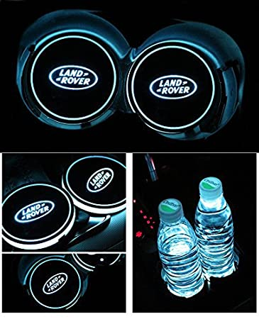 Bearfire Car Logo LED Cup Pad cup holder light USB Charging Mat Luminescent Cup Pad LED Mat Interior Atmosphere Lamp Decoration Light (Benz)