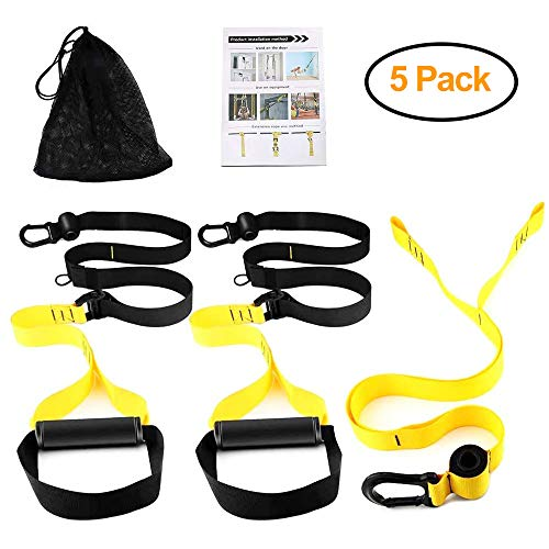 Bodyweight Fitness Resistance Trainer Kit – Complete Training Straps Kit for Full Body Strength – Outdoor and Indoor, Easy and Quick to Train Indoors Without Installing Door Stop for Travel Home Gym