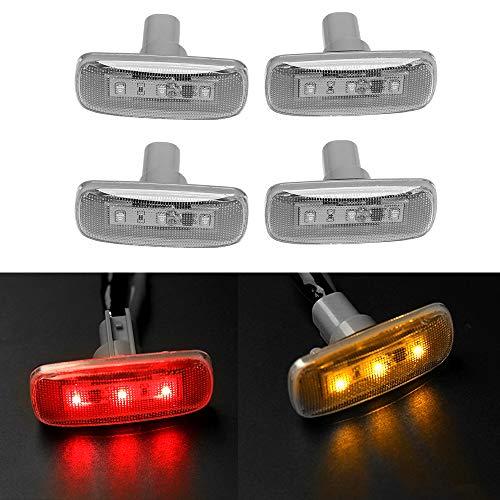 4PCS Dual Cab Bed Fender LED Side Marker Lights for 2010-2017 Dodge Ram 2500 3500 (2x Amber, 2x Red) ...