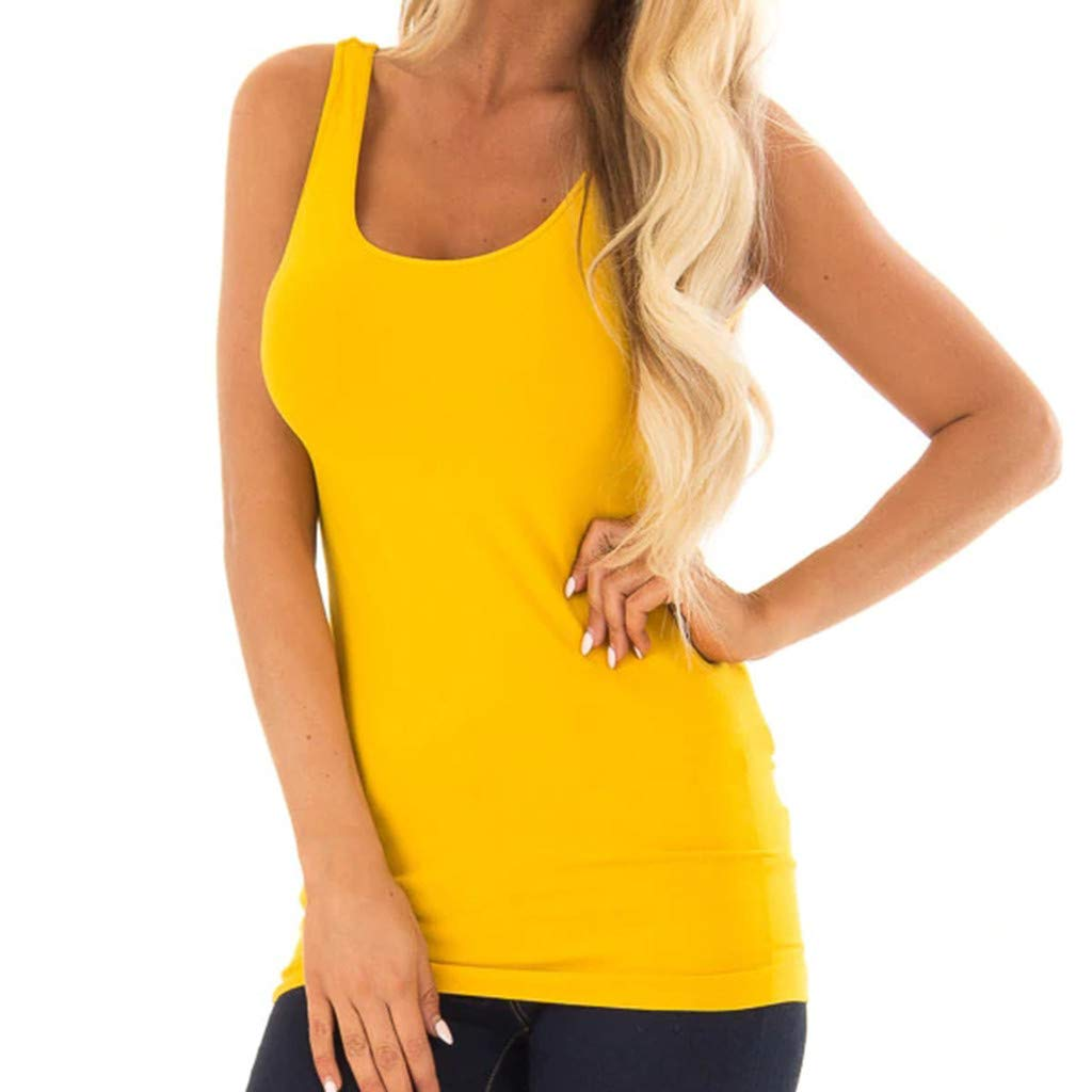 Women's Ladies Sleeveless Round Neck Solid Slim Fit Blouse Shirt Vest Yellow