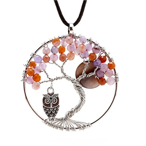 [Natural Amethyst Tree Of Life Pendant Necklace - Owl And Moon] (Zora Link Costume)