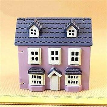 1:12 Dollhouse Miniature Romantic Violet Little Small Wooden House Landscape