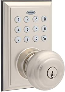 Honeywell 8832301S 1 BLE Electronic Entry Knob with Keypad, Square Faceplate, Satin Nickel