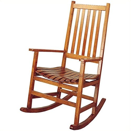 Rocker Porch Chair - Coaster Southern Country Plantation Porch Rocker/Rocking Chair, Oak Wood Finish