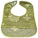 Set of 2 Brocade Baby Bibs in Olive Green Fortune Flower Pattern