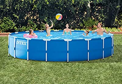 Intex Metal Frame Pool Set with Filter Pump, Ladder, Ground Cloth & Pool Cover by Intex