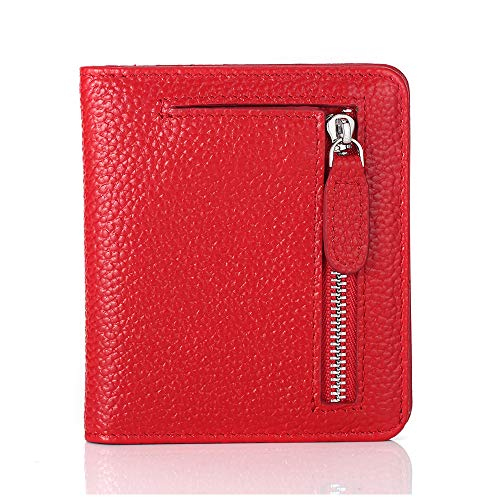 FUNTOR Leather Wallet for women, Ladies Small Compact Bifold Pocket RFID Blocking Wallet for Women, Red