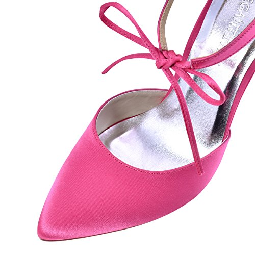 ElegantPark Womens Pointed Toe High Heel Ankle Strap DOrsay Satin Dress Pumps Bow Tie Hot Pink wgiJCg