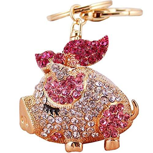 Bolbove Cute Bow Tie Piggy Keychain Sparkling Keyring Crystal Rhinestones Purse Pendant Handbag Charm (Pink)