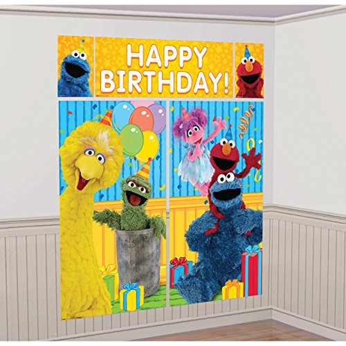amscan Sesame Street Elmo Scene Setters Wall Banner Decorating Kit Birthday Party Supplies,Multicolor -