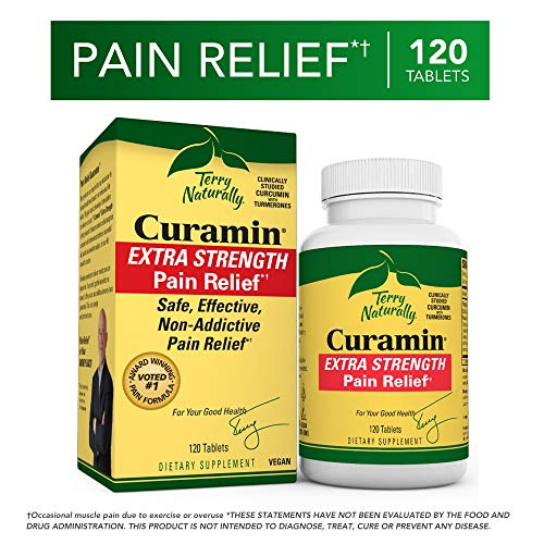 - Terry Naturally Curamin Extra Strength - 120 Vegan Tablets - Non-Addictive Pain Relief Supplement with Curcumin from Turmeric, Boswellia & DLPA - Non-GMO, Gluten-Free - 40 Servings