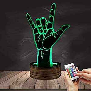 Rock Hand LED Night Light 3D Optical Illusion Table Desk Lamp Heavy Metal Rock Music Design