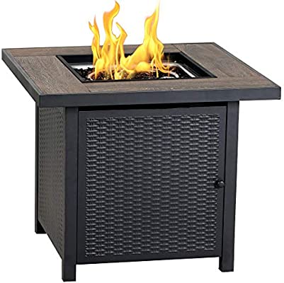 Fire Pit propane SS burner fireglass fireplace Gas Logs