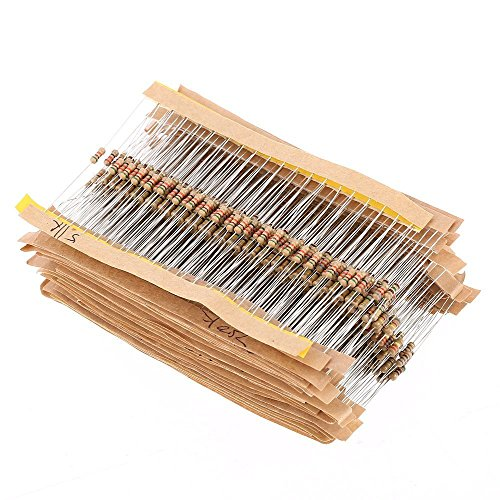 WINGONEER 560PCS 1/4W Watt 1% Carbon Film Resistors Assorted Kit Set 56 Values (1 ohm~ 10M (1/4 Watt Carbon Film Resistors)