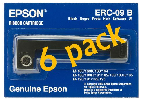 1 X Value Pack of 6 Epson BLACK RIBBON CASSETTE FOR M-160 (ERC-09B) free shipping