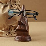 Wooden Nose Shaped Spectacle Stand Eyeglass Holder Hand Carved